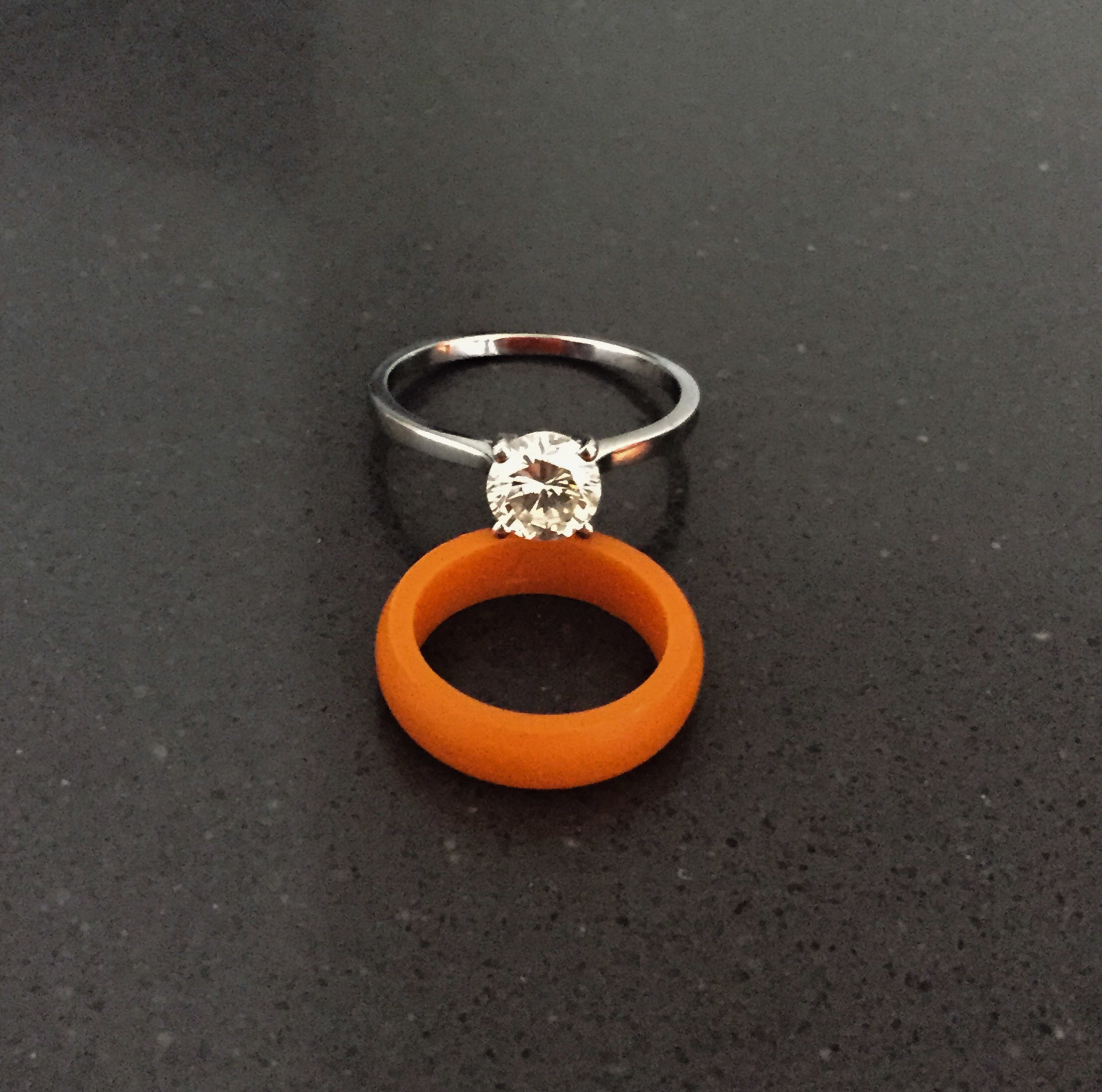 an diamond fetheray unusual vintage products ring s rings orange engagement five hoop half stone